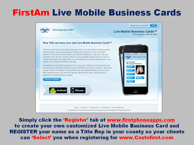 can download your live mobile business card and theyll have instant access to you and your services best of all its free you must have a firstamcom - Mobile Business Card